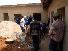mixing concrete for the primary school floor