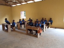 Students using their newly painted classroom