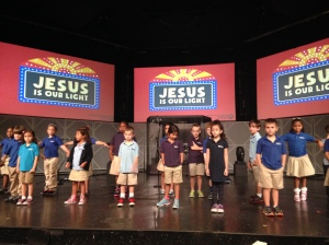 Kids preparing a song for chapel at Christ Fellowship